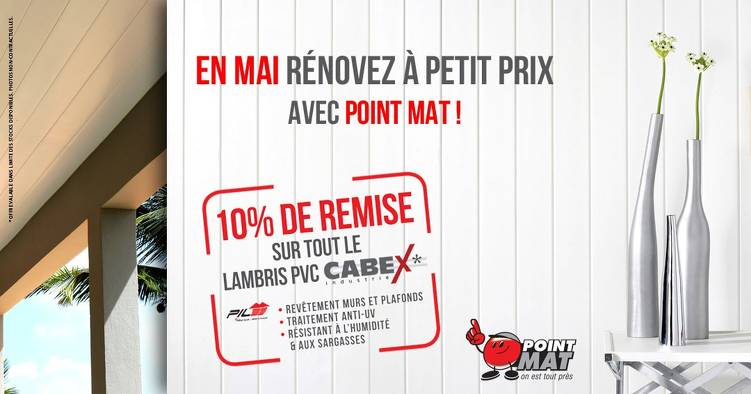 Bon plan, codes promo, réduction Guadeloupe, Martinique, Guyane, la Réunion : En MAI chez POINT MAT -10% sur TOUT le LAMBRIS PVC | photo-en-mai-chez-point-mat-10-sur-tout-le-lambris-pvc-1